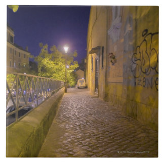 Street at night in Rome, Italy 2 Large Square Tile