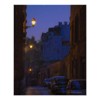 Street at night in Rome Italy Print