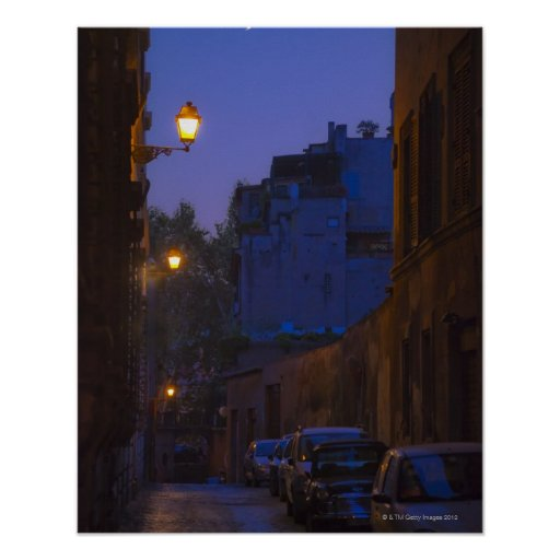 Street at night in Rome, Italy Poster