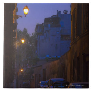 Street at night in Rome, Italy Large Square Tile
