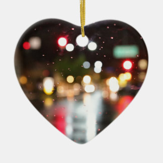 Street Bokeh Ceramic Heart Decoration