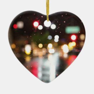 Street Bokeh Ceramic Heart Decoration