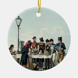 Street Breakfast engraved by G.Hunt, 1825 (engravi Round Ceramic Decoration