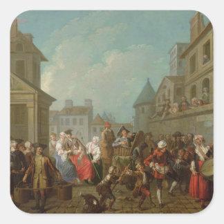 Street Carnival in Paris, 1757 Square Sticker