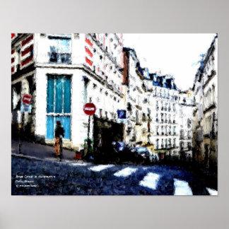 Street Corner in Montmartre, Paris, France Poster