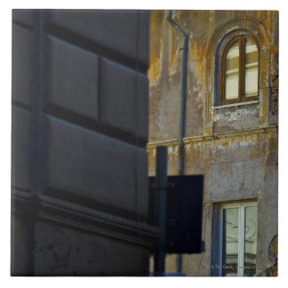 Street corner in Rome, Italy Large Square Tile