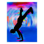 Street Dancing, Silhouette, Blues/Reds/Pink Shades Posters