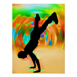 Street Dancing, Silhouette, Green/Orange/Yellows Poster