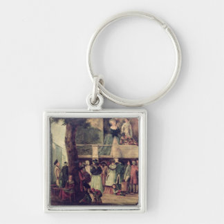 Street Fair Silver-Colored Square Key Ring