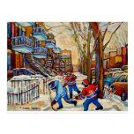 Street Hockey with 3 boys Post Card