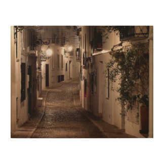 Street illuminated by lights, Altea Wood Wall Decor