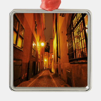Street in Gamla Stan in Stockholm, Sweden at night Christmas Ornament