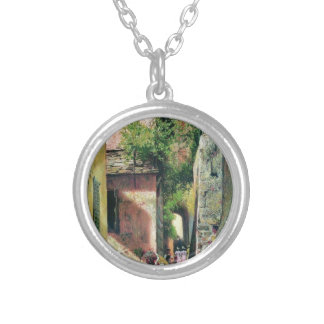 Street in Italian town by Fyodor Bronnikov Round Pendant Necklace