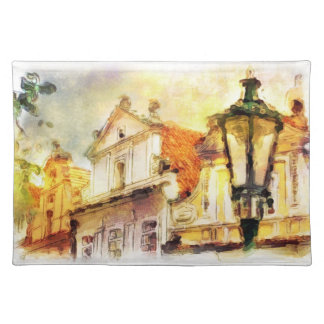 Street in old part of prague placemat