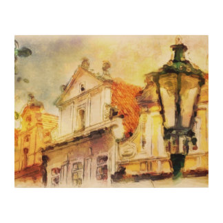 Street in old part of prague wood canvases