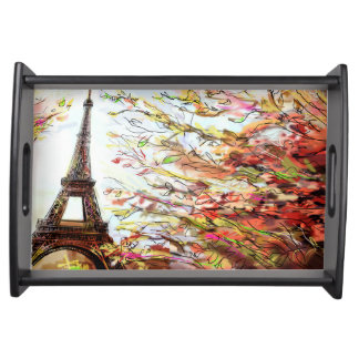 Street In Paris - Illustration 2 Serving Tray