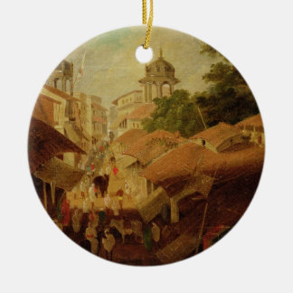 Street in Patna, c.1825 (oil on canvas) Christmas Ornament