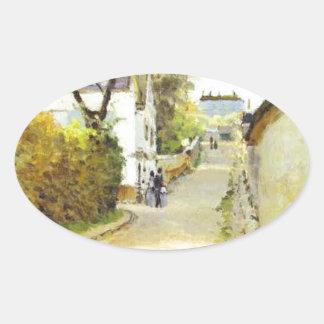 Street in Ville d Avray by Alfred Sisley Oval Sticker