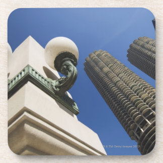 Street lamp detail at Marina City Towers Chicago Beverage Coaster