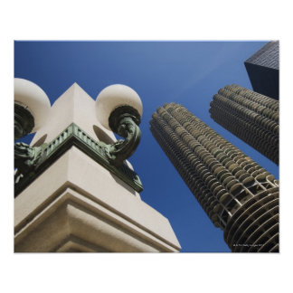 Street lamp detail at Marina City Towers Chicago Poster
