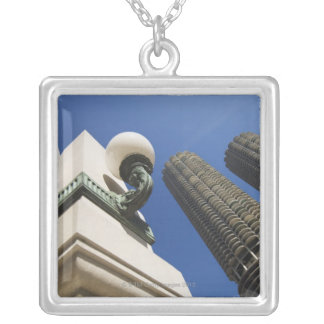 Street lamp detail at Marina City Towers Chicago Silver Plated Necklace