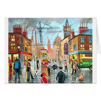 Street Life busy nostalgic tram city scape oil Card