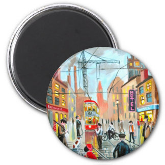 Street Life busy nostalgic tram city scape oil Magnet