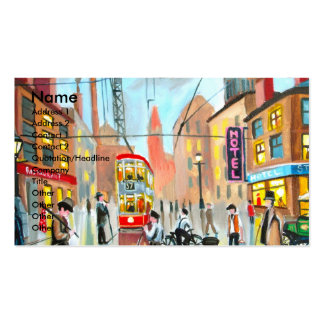 Street Life busy nostalgic tram city scape oil Pack Of Standard Business Cards