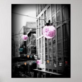 Street Light Globes Urban Art Poster