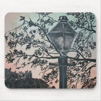 street light vintage square art oil painting mousepads