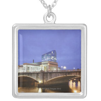 Street lights at night Philadelphia railroad Silver Plated Necklace