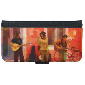 Street Musicians Playing Guitar Mandolin and Flute iPhone 6 Wallet Case