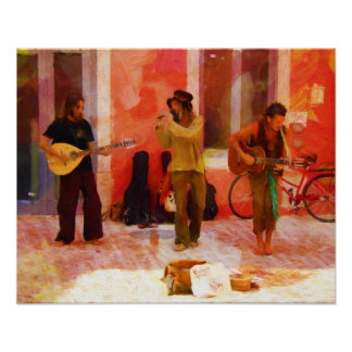 Street Musicians Playing Guitar Mandolin and Flute Poster