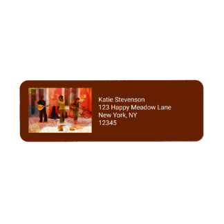 Street Musicians Playing Guitar Mandolin and Flute Return Address Label