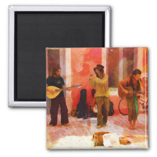 Street Musicians Playing Guitar Mandolin and Flute Square Magnet