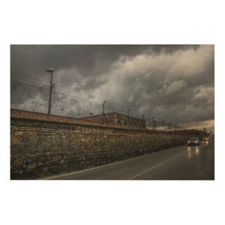 street of military town wood canvas