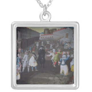 Street Performers at the Carnival Populaire Silver Plated Necklace