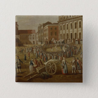 Street performers in the Alter Markt, 1771 15 Cm Square Badge