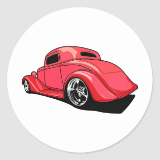 Street Rod Red Round Sticker