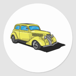 Street Rod Yellow Round Sticker