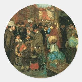 Street Scene, Hester Street, New York c. 1905 Round Sticker