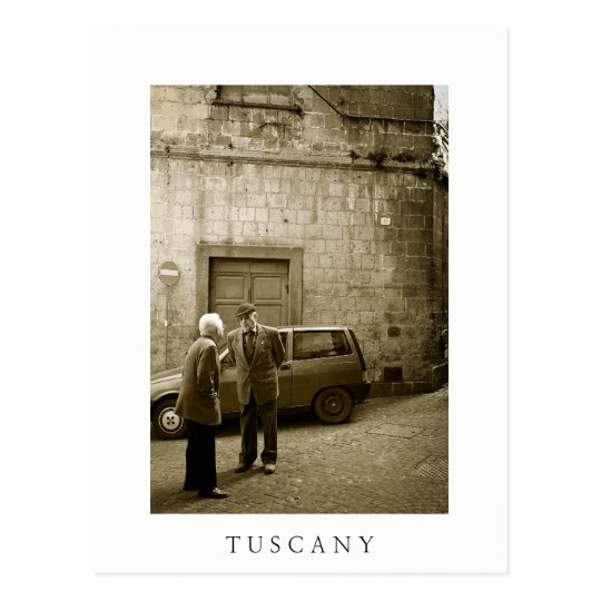 Street scene in Tuscany white text postcard