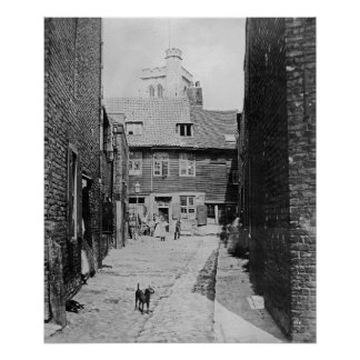 Street scene in Victorian London Poster