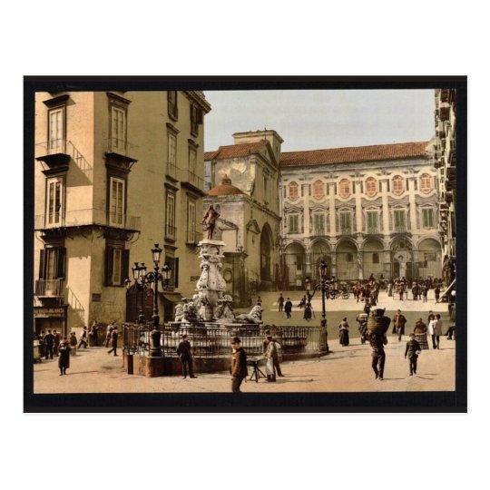 Street scene, Naples, Italy classic Photochrom Postcard