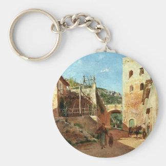 Street Scene near Antibes by Ernest Meissonier Basic Round Button Key Ring