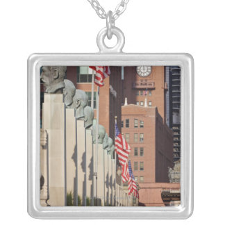 Street Scene outside the Chicago Merchandise Silver Plated Necklace