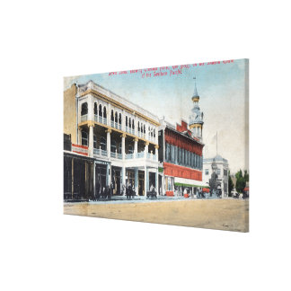 Street Scene Showing the Tremont Hotel Stretched Canvas Print