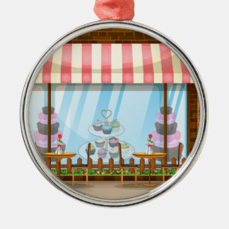 Street scene with bakery shop christmas ornament