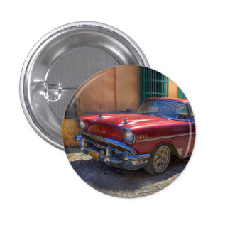 Street scene with old car in Havana 3 Cm Round Badge