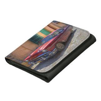 Street scene with old car in Havana Leather Tri-fold Wallet